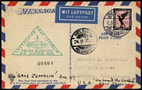 Lot 1545:1930 Baltic Sea Flight with 1m Eagle and green triangle 'LUFTSCHIFF GRAF ZEPPELIN/FAHRT RUND UM/DIE OSTSEE 1930' and Helsinki cds of 24IX30, on face of USA Air Mail Post Card, to USA.