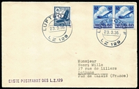 Lot 1495 [1 of 2]:1936 Erst Postfahrt Des L.Z.129 with 40pf Lufthansa pair & 20pf eagle, cancelled 'LUFTSCHIFF/23.3.36/LZ129' to France.