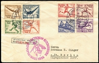 Lot 1496 [1 of 2]:1936 Hindenburg Olympic Flight (Aug 1) cancel on set of 8 Olympics on cover. with Luftschiff Hindenburg Olympia Fahrt 1936 cachet.