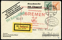 "Lot 1485:1929 Catapult Mail (Jul 22) SS BREMEN cover with red cachet 'Schnelldampfer/""BREMEN""/Norddeutscher Lloyd/BREMEN', green 'Mit Katapultflug' and oval 'Erster/deutscher/katapultflug/22.7.1929/Dampfer Bremen-New York' all on face. Very attractive."