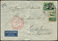 Lot 879 [1 of 2]:1936 (Apr) use of 75c Zeppelin & 2rm Lilienthal on air cover from Leipzig to Rio de Janeiro, red Europa-Sudamerika cachet on face, middle fold detracts little.