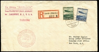 Lot 880 [1 of 2]:1936 (May 1) use of 50pf & 75pf on registered air cover from Lorch to New York, Hindenburg handstamp on face with Eurpoa-Nordamerika cachet.