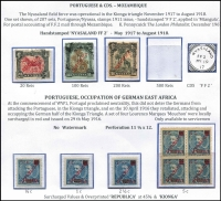 Lot 1382 [2 of 4]:1918 Nyasaland Field Force set of 4 1911 Nyassa stamps cancelled with 'NYASALAND/FF2' with various 1918 dates, applied at Mtangula. Only 207 sets produced. Plus MNG Laurenco Marques surcharged and optd for Kionga with ½c, 1c & 2½c singles and 5c block of 4. Also mint Belgian Congo GEA Occupation issues with 1916 set of 8, 1918 'AO' issue set to 1f, 1922 Surcharges set of 5. (27+1 block)