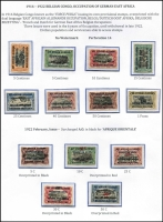Lot 1382 [3 of 4]:1918 Nyasaland Field Force set of 4 1911 Nyassa stamps cancelled with 'NYASALAND/FF2' with various 1918 dates, applied at Mtangula. Only 207 sets produced. Plus MNG Laurenco Marques surcharged and optd for Kionga with ½c, 1c & 2½c singles and 5c block of 4. Also mint Belgian Congo GEA Occupation issues with 1916 set of 8, 1918 'AO' issue set to 1f, 1922 Surcharges set of 5. (27+1 block)