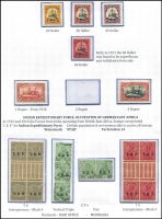 Lot 1553 [2 of 5]:1905-20 Yacht Wmk Lozenges set of 11, with lower 4 values being in blocks, Mi #30-39, Cat €170+. Plus selection of mainly mint IEF issues, includes ½a strip used at Mombasa. (13+10 blks + pcard+cvr)