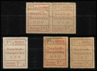 Lot 1381 [2 of 2]:1916 Wuga Provisionals 2½h brown Type II & I singles joined with tape, & 7½h red Type II-I repaired pair with Siebentritt BPP guarantee handstamps, Mi #III.W2,IV.W2 Plus 7½h Type I, fine, and 7½h Type II x2 (thins), both pairs joined with sellotape (no signs of staining), Cat €700+. A very rare group. (3+2prs)