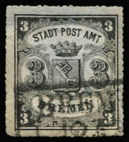 Lot 1345:1864 Arms Percés Én Scie 16 Mi #6x 3gr black/blue vertical laid paper, Cat €900.