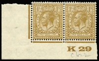 Lot 1502 [1 of 7]:KEVII-KGV Controls large collection of mainly corner pairs with almost no duplication, at least 262 different controls Total Cat well in excess of £2,500. (270+)