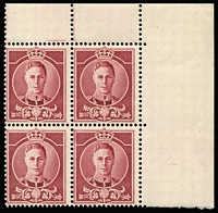 Lot 1503 [1 of 3]:KGVI Undenominated Design produced by Waterlow, MUH, purple imperf single & corner block of 4, perf single & block of 4, red-brown perf single & corner block of 4. Plus 6 different c.1980 imperf reproductions of the 1912 'Ideal stamp' made by Victor Short, MNG. (12 items)