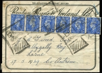Lot 459 [2 of 4]:1841-53 Irish Group [1] 1853 attractive Masonic Lodge printed cover with imperf 1d red, cancelled with '46' of Ballymena straight-line 'CARLOUGH/[GLEN]AR