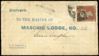 Lot 459 [1 of 4]:1841-53 Irish Group [1] 1853 attractive Masonic Lodge printed cover with imperf 1d red, cancelled with '46' of Ballymena straight-line 'CARLOUGH/[GLEN]AR