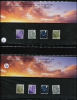 Lot 1540 [2 of 2]:1974-2008 Definitive PO Packs low denominations in album with slipcase, Post Office and Royal Mail issues for England, Scotland, Northern Ireland & Wales including NVI types, M/S, single-region and multiple region packs. (64)