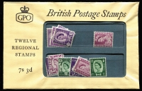 Lot 1541 [1 of 2]:1960 Presentation Packs '7s 3d Twelve Regional Stamps', Type A, (for sale in the UK), SG Spec #XPP1(a), containing one of each ordinary 3d, 6d & 1/3d from Northern Ireland, Scotland and Wales, minor wrinkles, unopened, Cat £100, plus 1970 Scotland 3d - 1/6d Regional Definitives PO Pack #23. (2)