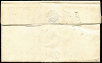 "Lot 1543 [2 of 2]:1819 entire to Scotland, straight-line 'GRENADA/JAN 10' on back, mss ""5/2"" in black & poor boxed ½ on face."