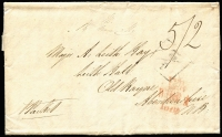 "Lot 1543 [1 of 2]:1819 entire to Scotland, straight-line 'GRENADA/JAN 10' on back, mss ""5/2"" in black & poor boxed ½ on face."