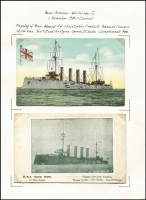 Lot 123 [2 of 7]:1914 Battles of Coronel & Falklands A great PPC and photo collection of the ships and men involved in these key early battles. Most cards are English and German there are a few French cards. Includes a PPC used in 1910 with Schiffspost No 22 from the SMS Gneisenau, also 1905 use of Schiffpost No 21 from the SMS Leipzig, PPC from Valparaiso, Chile with HMS Kent censor handstamp. (62 items)