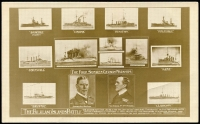 Lot 123 [1 of 7]:1914 Battles of Coronel & Falklands A great PPC and photo collection of the ships and men involved in these key early battles. Most cards are English and German there are a few French cards. Includes a PPC used in 1910 with Schiffspost No 22 from the SMS Gneisenau, also 1905 use of Schiffpost No 21 from the SMS Leipzig, PPC from Valparaiso, Chile with HMS Kent censor handstamp. (62 items)