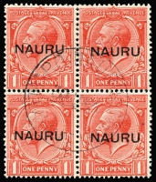 Lot 1372 [2 of 3]:1916-23 Central Overprints 1d, 1½d & 2d fine used blocks of 4, SG #14-16, Nauru, Pleasant Island cds. Cat £720+. (3 blks)