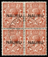 Lot 1372 [3 of 3]:1916-23 Central Overprints 1d, 1½d & 2d fine used blocks of 4, SG #14-16, Nauru, Pleasant Island cds. Cat £720+. (3 blks)