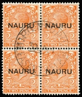 Lot 1372 [1 of 3]:1916-23 Central Overprints 1d, 1½d & 2d fine used blocks of 4, SG #14-16, Nauru, Pleasant Island cds. Cat £720+. (3 blks)