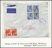 Lot 1603 [3 of 5]:1946 Pictorials SG #484-8,502-4, small study of this interesting issue which was printed by the Note & Stamp Printing Branch in Melbourne on CofA paper. Also the later 3c & 4c Surcharges. Includes four examples used on air covers. (110+)