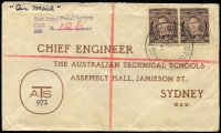 Lot 1343 [3 of 6]:1943-46 group mainly with Australian adhesives and mainly post-war military, includes APO 167 registered (22AP46), FPO registered (24MY46), UPS 390 registered (3MY46), FPO 180 registered (2OC45), 1943 US APO 503 stampless cover with censored contents. Nice group. (13)
