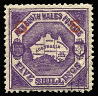 Lot 936:1888-90: 5/- purple P12 wmk 5/- optd 'OS' (13½mm spacing) in red with 'NSW'-in concentric ovals CTO cancel, from a 1895 special printing for inclusion in presentation/collectors sets, fine condition with large-part og. Rare, only 158 were sold.