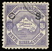 Lot 937:1890-91: 5/- lilac P10 wmk 5/-/NSW optd 'OS' (12mm spacing - Broken 'O') with 'G.P.O.'-in concentric ovals CTO cancel, fine condition with large-part og. Rare.