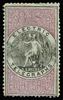 Lot 941 [1 of 2]:1871 Electric Telegraph 1d to 8/- set, all perf 12½,13, SG #T1-8, all MNG, 8/- minor creasing, Cat £5,900+. Rare: much harder to obtain than the 'SPECIMEN' stamps. [Withdrawn after only one month because their use wasn't authorised in the Act!] (8)