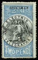 Lot 943:1871 Electric Telegraph 2d black & blue with 'SPECIMEN' type 3 ovpt, no gum.