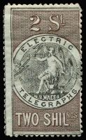 Lot 940 [1 of 4]:1871 Electric Telegraph 1d x4 (2 shades), 6d, 1/- & 2/-, all perf 12½,13, SG #T1-5, all MNG, Cat £2,145. [Withdrawn after only one month because their use wasn't authorised in the Act!] (7)