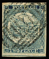Lot 928:1850 2d Sydney Views Plate II Early Impressions 2d indigo with Pl 3 Fan SG #21, complete good to large margins, strong colour, Cat £550.
