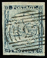 Lot 929:1850 2d Sydney Views Plate II Worn Impressions 2d Prussian blue No whip [pos 8] 4 large margins, 1st BN '3' of Windsor cancel, SG #26e, Cat £350. Ex Slade Slade.