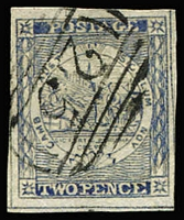 Lot 930:1851 2d Sydney Views Plate V Hard Greyish Wove Paper 2d dull blue [pos 9] 4 large margins, SG #37, rare 1st BN '25' of Kiama cancel Rated 3R, Cat £180.