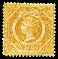 Lot 932:1882-97 Wmk 2nd Crown/NSW 8d yellow P12, SG #236a, Inv wmk, fine mint, Cat £325