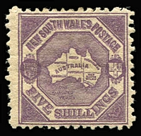 Lot 933:1888-89 Centenary Wmk Double-Lined 5/- 5/- deep purple P10, SG #261, Cat £425.