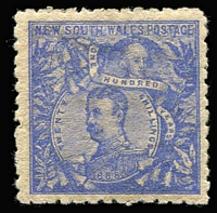 Lot 934:1888-89 Centenary Wmk Double-Lined 5/- 20/- Carrington P10, SG #262, Cat £750.