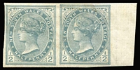 Lot 972:1899 Chalk-Surfaced Paper Wmk 2nd Crown/NSW Perf 12x11 ½d blue-green (shade) right marginal imperf pair, SG #298a, Cat £250. RPSV Certificate (2017)