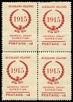 Lot 1474 [1 of 2]:Auckland Islands 1915 General Grant Expedition: ½d & 1d blocks of 4, unmounted, ½d one unit with small gum mark, 1d 3 units with small thin. (8)