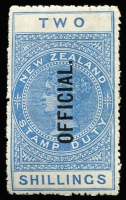 Lot 1397 [2 of 2]:1913-25 Postal Fiscals Wmk W43 Sideways Chalk-Surfaced DLR Paper Perf 14: 2/- blue (rough perfs) and 5/- green P14½x14, SG #O82,O86, mint, Cat £155 (2)