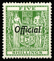 Lot 1400 [2 of 2]:1933 Postal Fiscals: 5/- green vertical ovpt & 5/- green vertical ovpt (MUH), SG #O133,O119, Cat £485. (2)