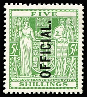 Lot 1400 [1 of 2]:1933 Postal Fiscals: 5/- green vertical ovpt & 5/- green vertical ovpt (MUH), SG #O133,O119, Cat £485. (2)