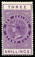 Lot 1416:1882-1930 Long Stamps Wmk W43 Sideways Chalk-Surfaced DLR Paper Perf 14½x14 3/- purple, SG #F113, mint, Cat £170
