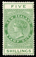 Lot 1418:1882-1930 Long Stamps Wmk W43 Sideways Chalk-Surfaced DLR Paper Perf 14½x14 5/- yellow-green, SG #F115, mint, Cat £180