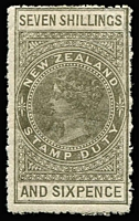 Lot 1412:1882-1930 Long Stamps Wmk W43 Sideways Unsurfaced Cowan Paper Perf 14 7/6d bronze-grey, SG #F84, rough perfs, Cat £1,400