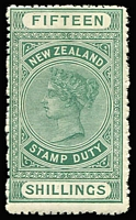 Lot 1414:1882-1930 Long Stamps Wmk W43 Sideways Unsurfaced Cowan Paper Perf 14 15/- green, SG #F88, rough perfs, Cat £1,200