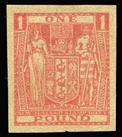 Lot 1620 [1 of 2]:1931 Arms £1 pink/buff imperf proof single, 2 rows of repeating 'SPECIMEN' on back. Unique.