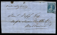 "Lot 1438 [1 of 2]:1856 (Aug 27) large-part outer to Melbourne, endorsed ""via Sydney"" with Blue Paper 2d blue (SG #5 - large margins except at right where cut-into, Cat £300 x2+ on cover) tied by poor cancel of Wellington (light backstamp), very fine red oval 'SHIP.LETTER/FREE/SE-27/1856/GPO.VICTORIA' arrival backstamp. Ex Benvie."