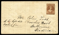 Lot 1439 [1 of 2]:1861 (May 11) cover with White Paper 6d pale brown (SG #14 - margins just clear to large, Cat £300 x2+ on cover) tied by neat '15' cancel of 'NELSON' (b/s), 'MELBOURNE/MY24/61' transit & large oval 'BACCHUS MARSH/VICTORIA' (crown worn away) arrival backstamp, minor blemishes.