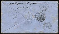 Lot 1440 [2 of 2]:1862 (Sep 16) cover with Imperf 6d black-brown (SG #41?) pair (margins just touching to large, except where cut-into at the base of the second unit) tied by neat '14' cancels of 'PICTON' (poor backstamp), fine unframed 'P.D.' handstamp applied at WellIngton (?), French 'POSS ANG V SUEZ/13/JANV/63/MARSEILLES' mailboat sorter in red on the face, redirected on arrival & with four French backstamp. Carried per Madras, departed Sydney 22/11/1862; mail arrived Malta 10/1/1863 & Marseilles 13/1/1863. [From 5/4/1862, mail to France could be partly-paid, or fully paid, to destination. Duplicate sets of instructional handstamps including 'P.P.' & 'P.D.' were sent to Auckland and Wellington: see Ellott (2009) at page 53. The rate was the standard 6d + 4d per ¼oz so the cover was overpaid 2d for a ¼oz letter.] Ex Benvie.